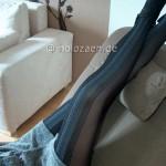 Modische gestreifte Strumpfhose von Fiore, halb blickdicht lange Beine