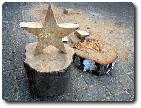 Holzsterne Baumstamm